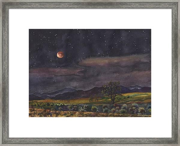 Blood Moon Over Boulder Framed Print