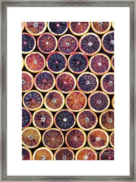 Blood Oranges Pattern Framed Print