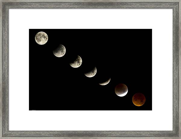 Bloodmoon Lunar Eclipse With  Phases Composite Framed Print