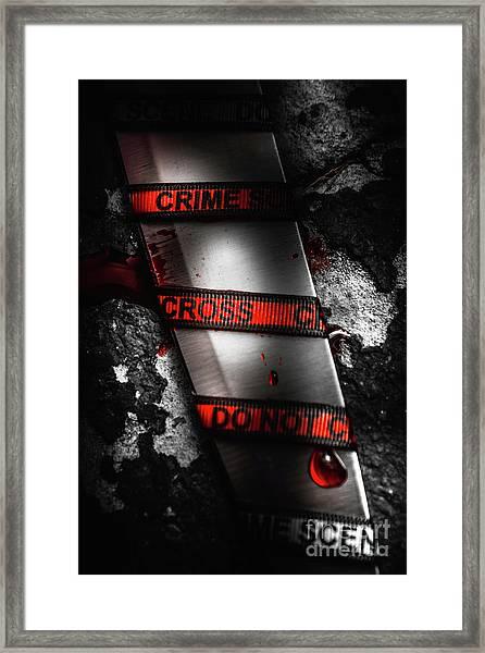 Bloody Knife Wrapped In Red Crime Scene Ribbon Framed Print