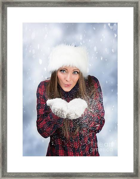 Blowing Snow In Winter Framed Print