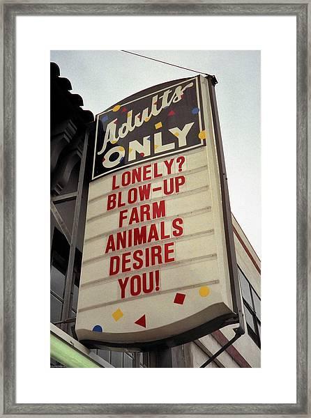 Blowup Farm Animals Sign Framed Print
