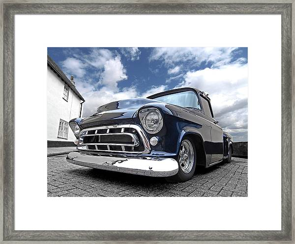 Blue 57 Stepside Chevy Framed Print