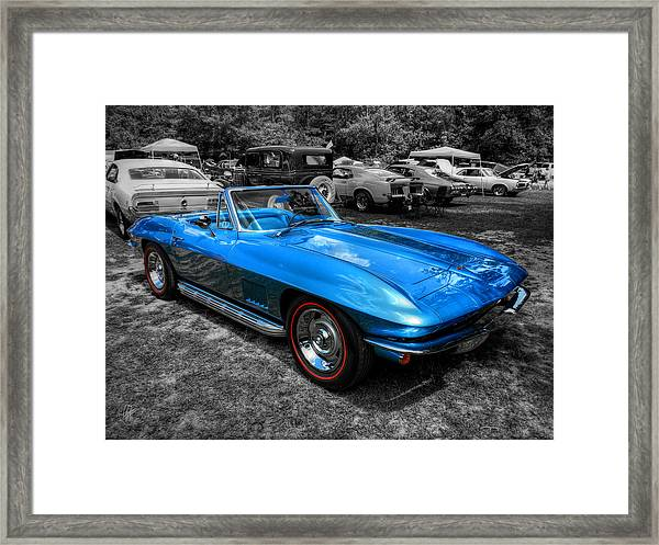 Framed Print featuring the photograph Blue '67 Corvette Stingray 001 by Lance Vaughn