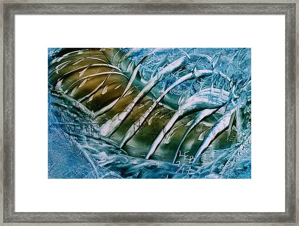 Blue Abstract Dark Ribbon Centre Framed Print