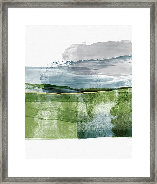 Blue And Green Minimalist Landscape Art By Linda Woods Framed Print