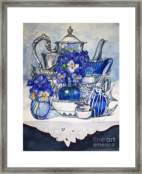 Blue And Silver Framed Print