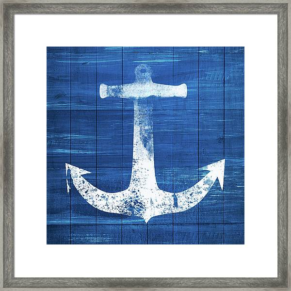 Blue And White Anchor- Art By Linda Woods Framed Print