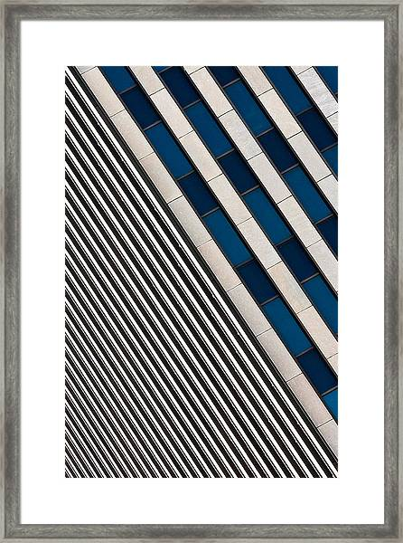 Blue And White Diagonals Framed Print