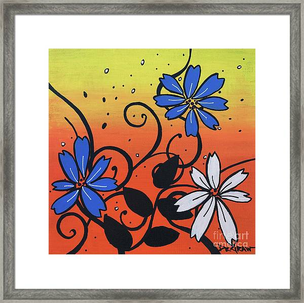Blue And White Flowers Framed Print