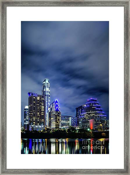 Blue Austin Skyline At Night Framed Print by Paul Velgos