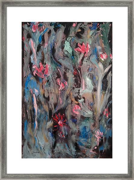 Blue Bird In Flower Garden Framed Print