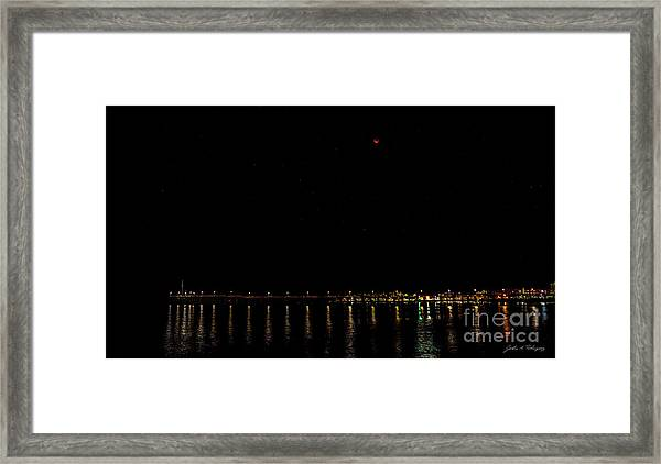 Blue Blood Moon 2018 Ventura, California Pier Framed Print