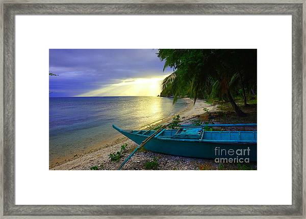 Blue Boat And Sunset On Beach Framed Print