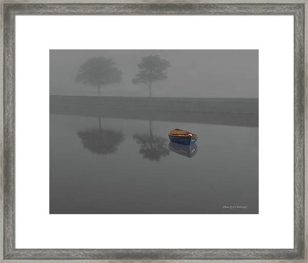 Blue Boat In Fog Framed Print