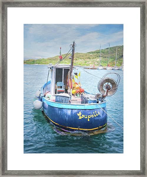 Blue Boat Framed Print