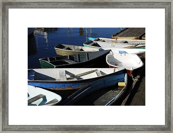 Framed Print featuring the photograph Blue Boats Of Rockport by AnnaJanessa PhotoArt