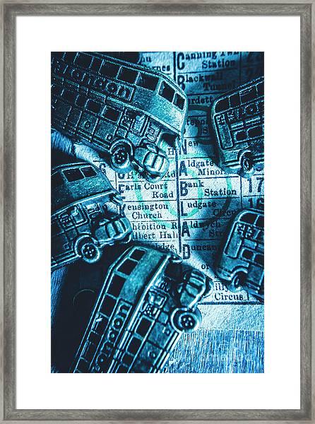 Blue Britain Bus Bill Framed Print