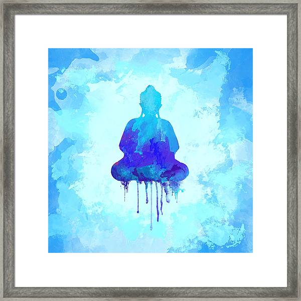 Blue Buddha Watercolor Painting Framed Print