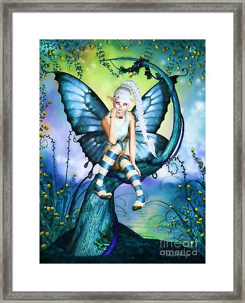 Blue Butterfly Fairy In A Tree Framed Print
