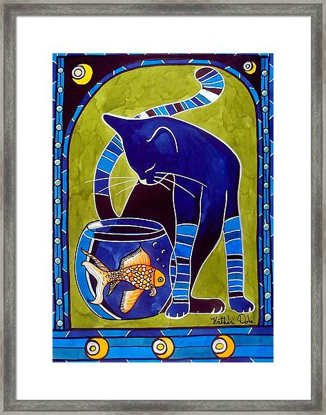 Blue Cat With Goldfish Framed Print
