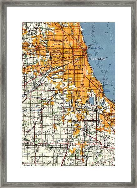 Blue Chicago Old Map, Orange Map Framed Print