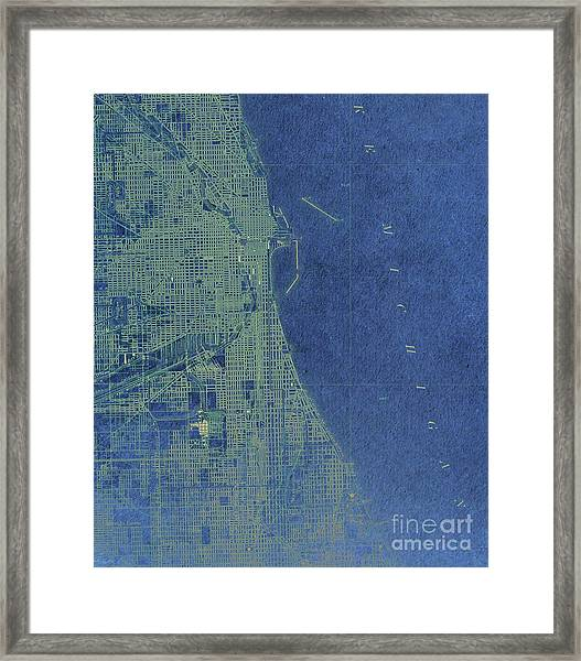 Blue Chicago Old Map Year 1900 Framed Print