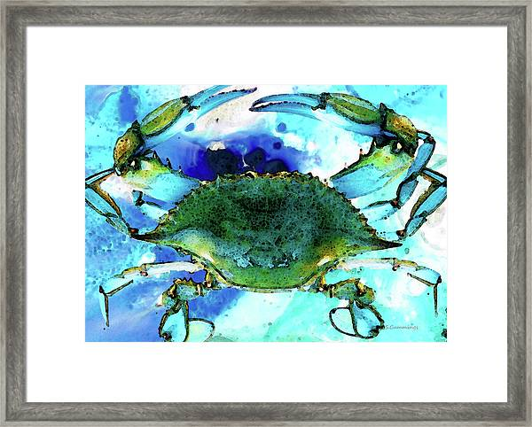 Blue Crab - Abstract Seafood Painting Framed Print