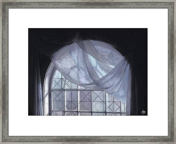 Hand-painted Blue Curtain In An Arch Window Framed Print