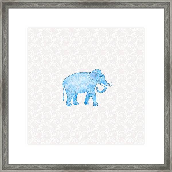 Blue Damask Elephant Framed Print