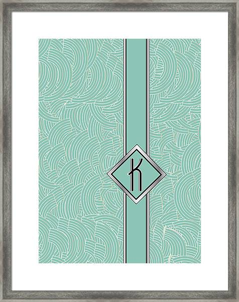 1920s Blue Deco Jazz Swing Monogram ...letter K Framed Print