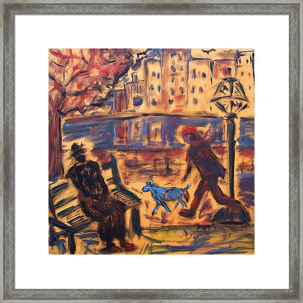 Blue Dog In The City Framed Print