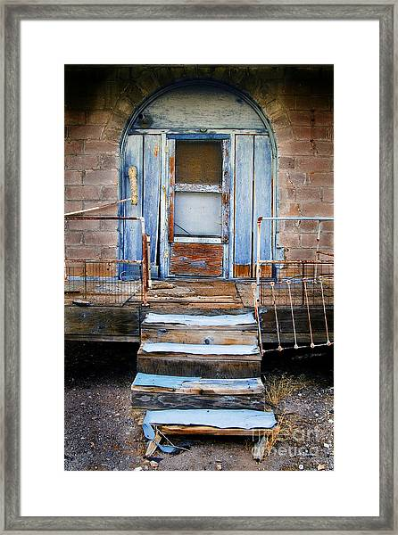 Blue Door Of Riley Framed Print