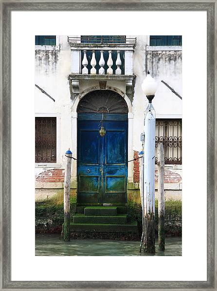 Blue Door On Grand Canal In Venice Framed Print by Michael Henderson
