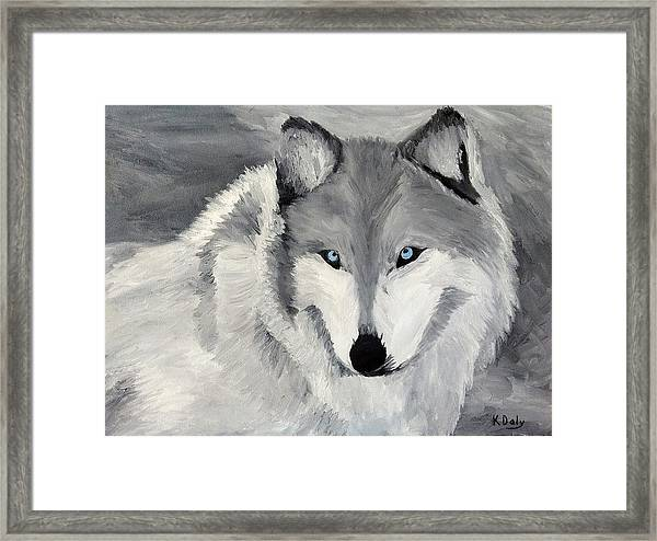 Framed Print featuring the painting Blue Eyes by Kevin Daly