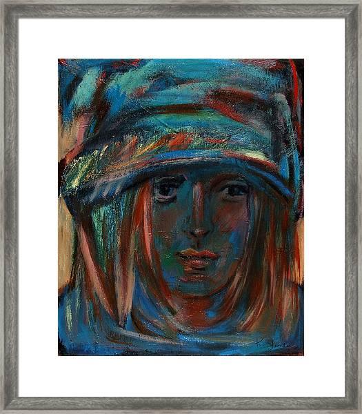 Blue Faced Girl Framed Print
