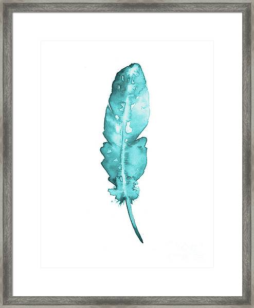 Blue Feather Minimalist Painting Framed Print