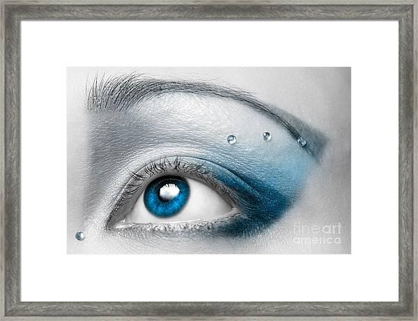 Blue Female Eye Macro With Artistic Make-up Framed Print