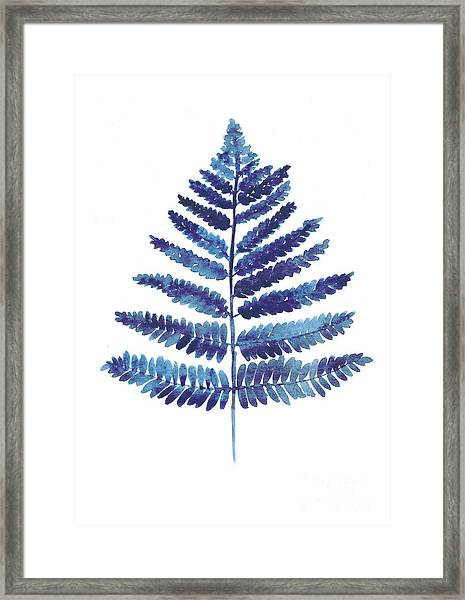 Blue Fern Watercolor Art Print Painting Framed Print