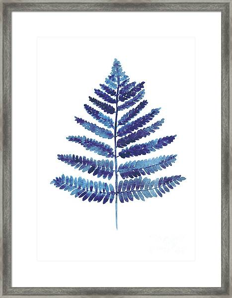 Blue Ferns Watercolor Art Print Painting Framed Print