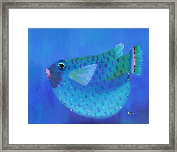 Blue Fish With Pink Lips Framed Print