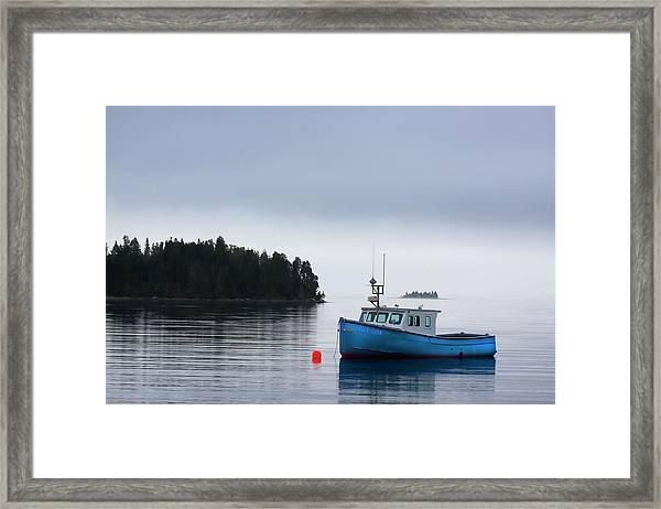 Blue Fishing Boat In Fog Framed Print