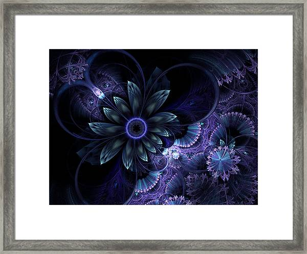 Blue Fleur And Lace Framed Print