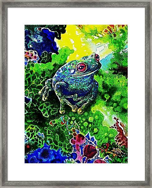 Blue  Frog Framed Print