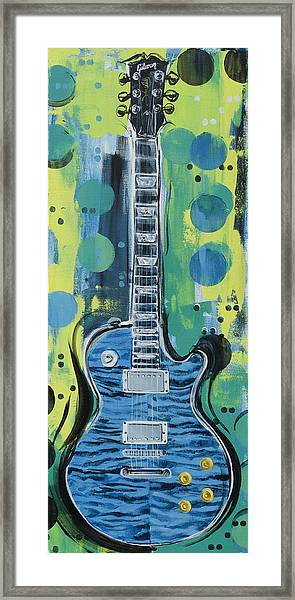 Blue Gibson Guitar Framed Print