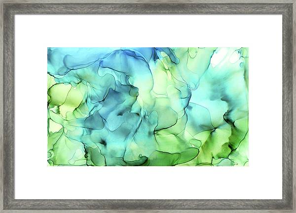 Blue Green Abstract Ink Painting Framed Print