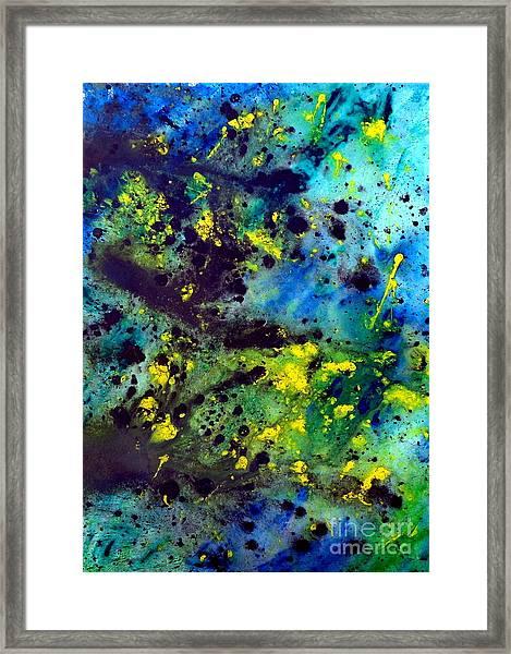 Blue Green Chaos Framed Print