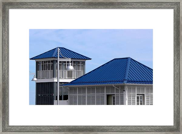 Blue Harbor Roofs Framed Print