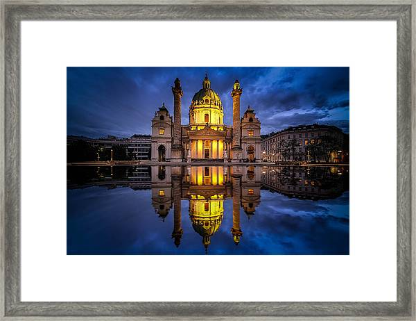 Framed Print featuring the photograph Blue Hour At Karlskirche by Kevin McClish