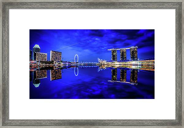 Framed Print featuring the digital art Blue Hour At Marina Bay by Kevin McClish